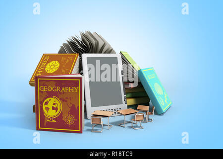 E-book reader Books and tablet on gradient 3d illustration Success knowlage concept - Stock Photo