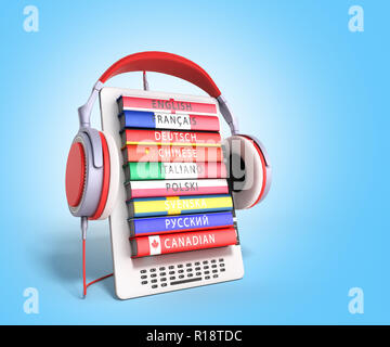 e-boock learning languages online 3d render on gradient - Stock Photo