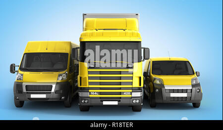 3D illustration of a truck a van and a lorry against a gradient background - Stock Photo