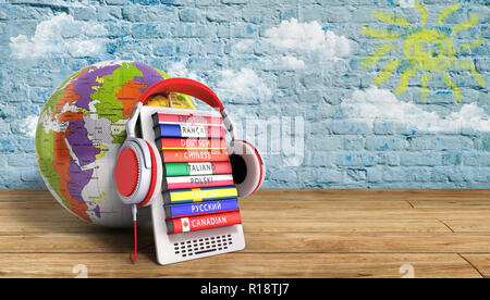 e-boock whith globe audio learning languages 3d illustration image Success knowlege concept - Stock Photo