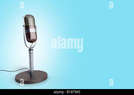 Vintage silver microphone on blue background 3d render image - Stock Photo