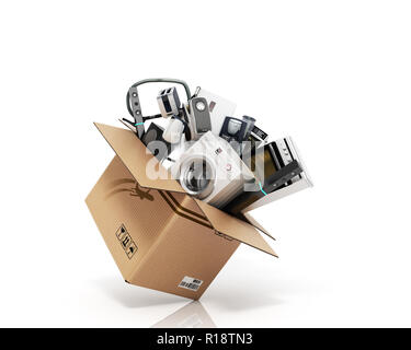 Home appliances Group of white refrigerator washing machine stove microwave oven vacuum cleaner isolated on white background 3d - Stock Photo