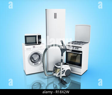 Home appliances Group of white refrigerator washing machine stove microwave oven vacuum cleaner isolated on blue background 3d - Stock Photo