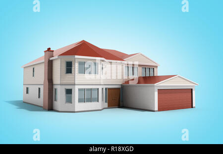 House Three-dimensional image 3d render on blue - Stock Photo