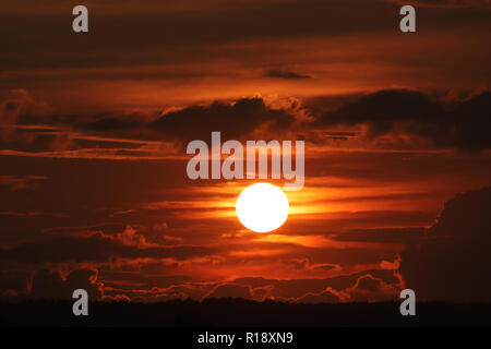 Sunset over Stuttgart Airport - Stock Photo