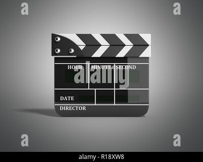 movie clapper board high quality 3d render on grey - Stock Photo
