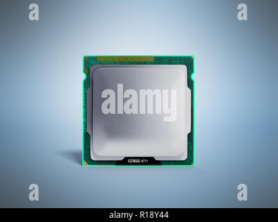 Computer Processors CPU High resolution 3d render on blue - Stock Photo