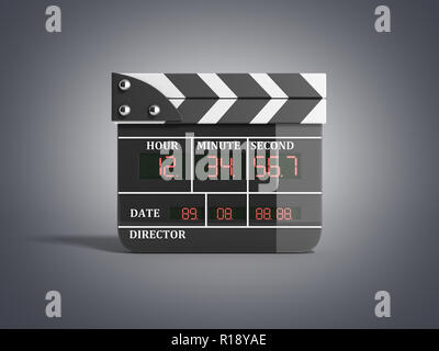 movie clapper board high quality 3d render isolated on grey - Stock Photo
