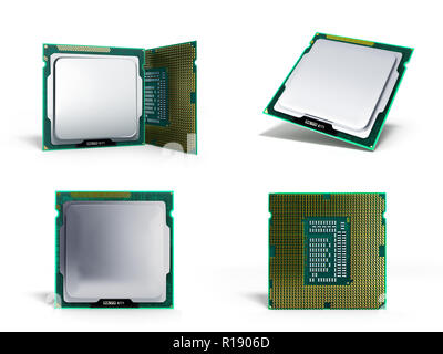 collection Central Computer Processors CPU High resolution 3d illustration - Stock Photo