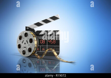 movie clapper board high quality 3d render on blue - Stock Photo