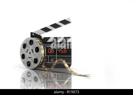 movie clapper board high quality 3d render on white - Stock Photo