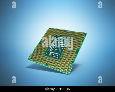 Central Computer Processors CPU High resolution 3d render on blue - Stock Photo