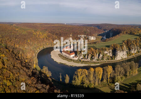 Aerial view of the Benedictine monastery Weltenburg Abbey - Stock Photo