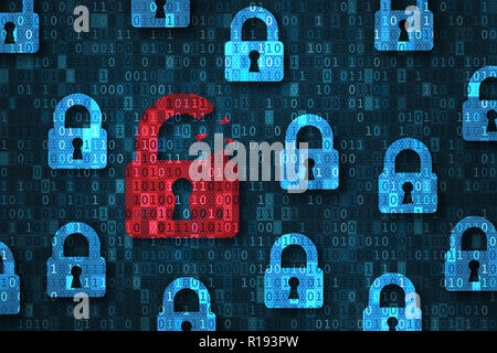 Security breach, system hacked alert with red broken padlock icon showing unsecure data under cyberattack, vulnerable access, compromised password, vi - Stock Photo