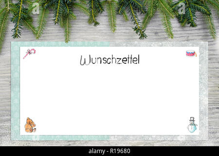 Christmas illustrations. English german text wish list as handlettering. In the background is wood and fir green. - Stock Photo