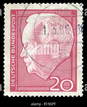 Postmarked stamp from the Federal Republic of Germany in the Lübke, Heinrich series issued in 1964