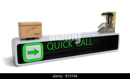 concept of fast order of express delivery at the door 3d render on white - Stock Photo