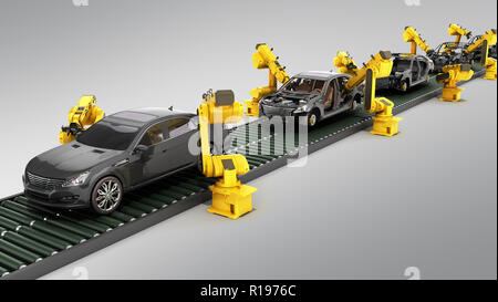 automated industrial conveyor view 3d rendr on grey - Stock Photo