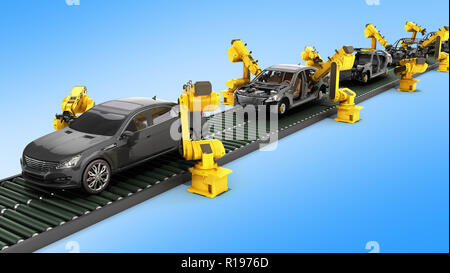 automated industrial conveyor view 3d rendr on blue - Stock Photo