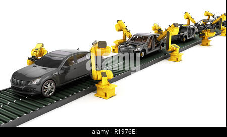 automated industrial conveyor view 3d rendr on white - Stock Photo