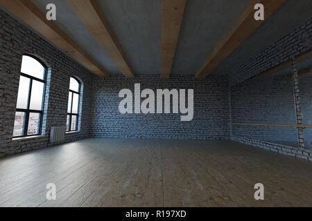 3d rendering of empty studio loft with white bricks - Stock Photo
