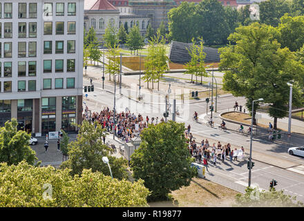 BERLIN, GERMANY - JULY 13, 2018: Strike of young doctors against payment reduction for psychotherapy at the Charite Campus on Invalidenstrasse street  - Stock Photo