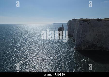 White cliffs along the coast. - Stock Photo
