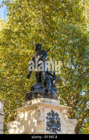 London. November 2018. A view of the Royal marines memorial on The Mall in London - Stock Photo