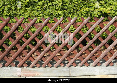 Wattle fence in Garden. Garden wooden fence - Stock Photo