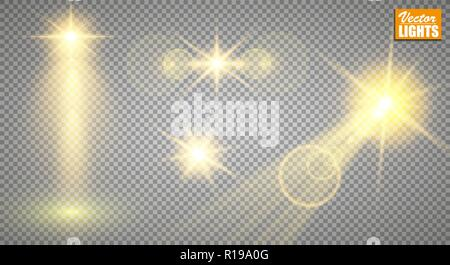 Light effects. A set of golden shining lights isolated on a transparent background. The flash flashes with rays and a searchlight. A splash of stars with sparkles - Stock Photo