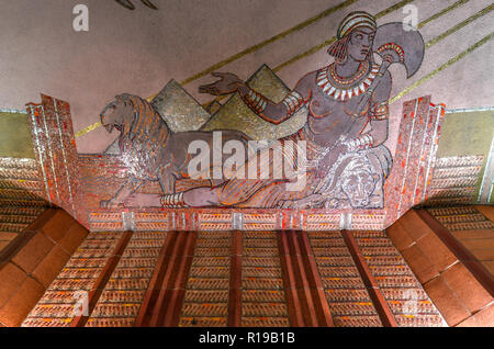 New York City - October 14, 2018: Art Deco mural in the AT&T Long Distance Building. It is a 27-story landmarked Art Deco skyscraper located in the Tr - Stock Photo