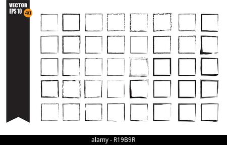 A set of frames, black squares, textural lines, also brushes. - Stock Photo