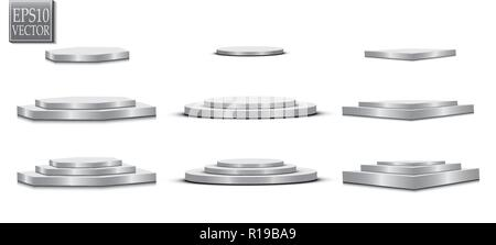 Podium, isolated on a transparent background. 3d pedestal. Vector illustration - Stock Photo