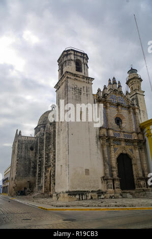 View of the former San Jose Cathedral. It was the main temple of the Jesuit monastery, now a cultural center in Campeche. Mexico - Stock Photo