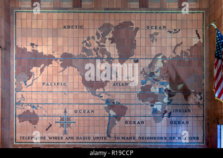 New York City - October 14, 2018: World Map Art Deco mural in the AT&T Long Distance Building. It is a 27-story landmarked Art Deco skyscraper located - Stock Photo