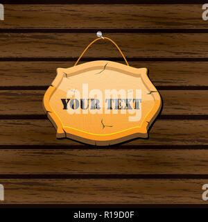 Wooden signboard, isolated on a dark wooden background, hung on a pole, vector realistic wood texture illustration. Old banner with a rope - Stock Photo