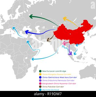 One Belt One Road new Silk Road concept. 21st-century connectivity and cooperation between Eurasian countries. Vector illustration. - Stock Photo