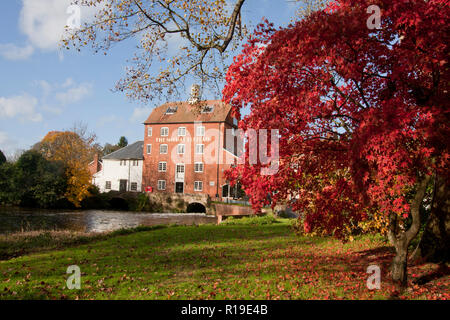 the old watermill at Elstead in autumn, Surrey (now a restaurant), England - Stock Photo