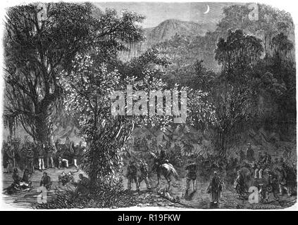 Brazilian expedition to Mato Grosso: Encampment of the Expeditionary Division in the virgin forests of Goiás (L'Illustration, 1866). - Stock Photo