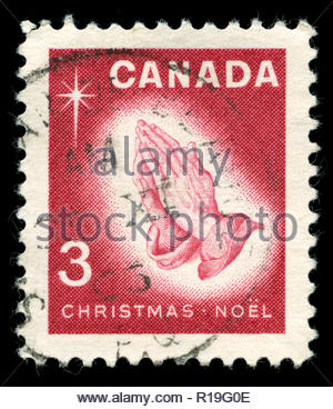 Postmarked stamp from Canada in the  Christmas (1966) series - Stock Photo