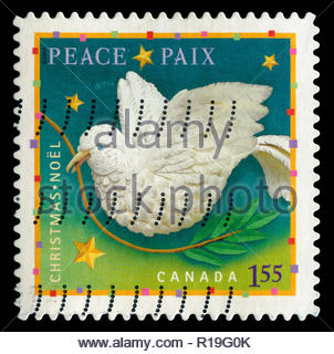 Postmarked stamp from Canada in the  Christmas (2007) (2nd issue), Hope, Joy & Peace series - Stock Photo