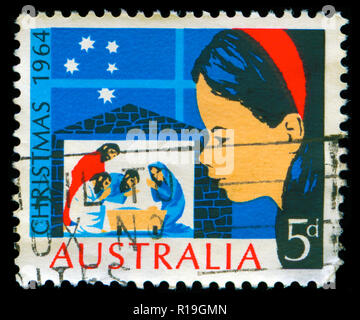 Postmarked stamp from Australia in the  Christmas 1964 series - Stock Photo