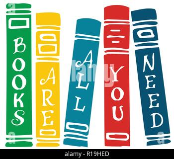 Books are all you need lettering on colorful vector set of book covers - Stock Photo