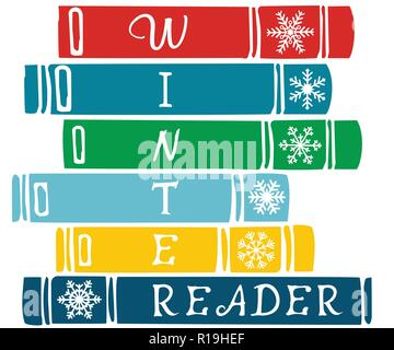 Winter Reader lettering on vector stack of colorful books - Stock Photo