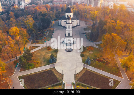 Chisinau, the capital city of the Republic of Moldova. Aerial view of Chisinau metropolitan central park, from drone