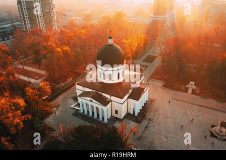 Chisinau Metropolitan Cathedral in Central Park,  Moldova Republic. Aerial view. Artistic tonning