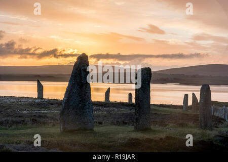 ring of brodgar neolithic standing stones, stone circle - Stock Photo
