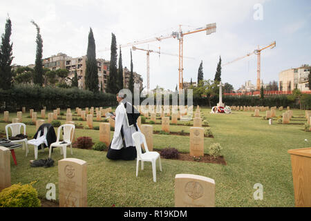 Beirut Lebanon. 10th November 2018. A chaplain  after the service of remembrance at the Beirut Commonwealth Graves Cemetery with a wreath laying ceremony attended by veterans, foreign ambassadors and representatives from the Commonwealth ot remember the fallen soldiers - Stock Photo