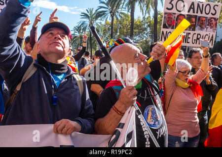 Barcelona, Spain November 10, 2018. Manifestation of the police Jusapol association held today at noon in Barcelona to claim, according to the official announcement, equal pay among the Spanish police forces. Half a thousand policemen, surrounded by a security perimeter mounted by the Mossos d'Esquadra (Catalan Police), the demonstrators began the march in front of the building of the Police Headquarters of Barcelona in Via Laietana. Credit: Cisco Pelay / Alamy Live News - Stock Photo