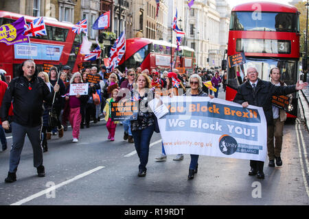 London, UK. 10th Nov, 2018. Pro-Brexit activists from UK Unity march along Whitehall on a Brexit Now demonstration. Credit: Mark Kerrison/Alamy Live News - Stock Photo